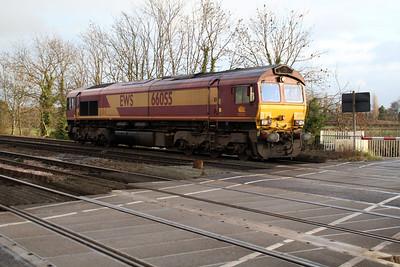 66055 0930 Tyne Yard - Knottingley passes Hillam Gates crossing.