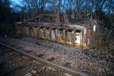 Extant wagon DB973441 near Glaston Tunnel on the MML.