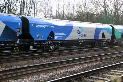 New Biomass Hopper in Drax vinyls 83700698047-3 seen at Hillam Gates crossing.