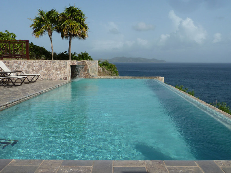 A 5 min walk from me is our cliff top pool, with staggering views over the Caribbean sea (and it's own private waterfall :)