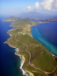 Here it is again, looking south, with the island of Nevis in the distance. 11 km of steep, winding terrain, between the Atlantic ocean (L) and Caribbean Sea (R). With a swim at the end, this has to be one of the world's best running routes. I do it most weeks around dawn.