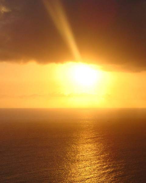 The views over the Caribbean Sea at sunset are incredible. From about 200 m high the water looks a bit like beaten metal, ever-changing with the wind. It's incredibly beautiful.