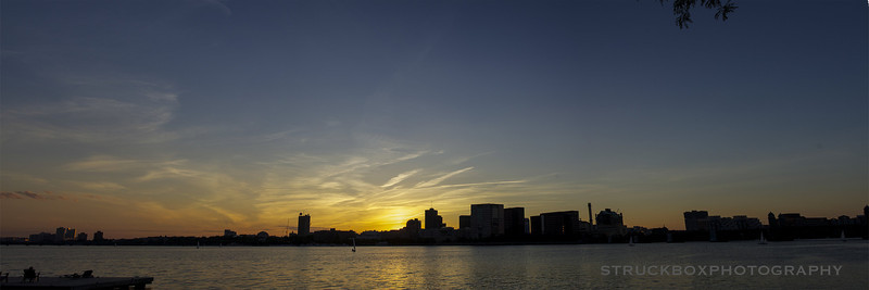 My first panoramic shot with the new camera, standing at the Charles River Esplanade. Sunset