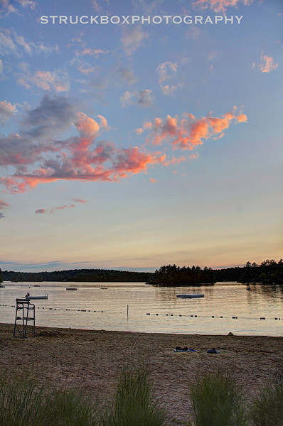 Fire Clouds over Bare Hill Pond in Harvard, MA