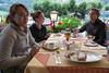 Isabel, Ruth, and Chantal, dessert in Lauterbrunnen