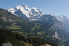 View of the mountains from above Wengen