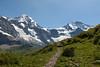 HIking trail and mountains, above Kleine Scheidegg