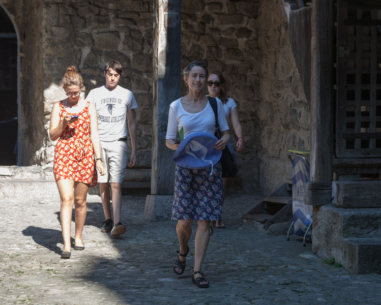 Ruth, Benjamin, Chantal, and Isabel, in the Château de Chillon