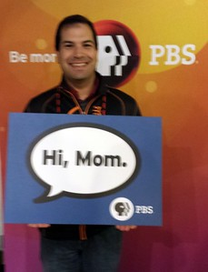 Craig gives a shoutout to his mom at the PBS table at the evening social