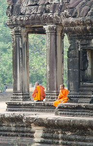 Monks.  Love their orange robes.