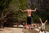 Sebastian takes on a 45 meter slackline on Tonsai Beach, just for fun.