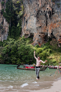 After spending a couple nights on W. Railay, we packed up and headed to Tonsai to find cheap lodging and climbing to do. We stayed there for the rest of our duration on the peninsula. Here's John taking a turn on a 45 meter beach line.