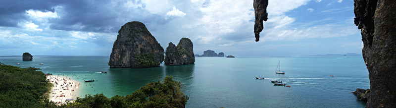 Happy Island and Phra Nang Beach from the anchor of a climbing route.