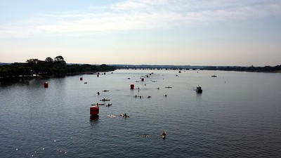 The swim course, as seen from the Arlington Memorial Bridge