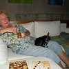 the entire time Carillon was here her lap was never cold - here she enjoys a banana beer and some sugar free chocolates while Lola snoozes happily