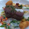 Seared Filet Mignon: Asparagus & Lobster Hash, Bone Marrow Tater Tots, Fennel Pollen Nage