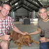 Erik and Matt with Harley in the Venge cellar