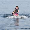 Maya getting up on her skiis