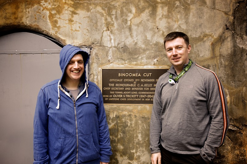 John and James about to go into the Binoomea Cut, the entrance/exit tunnel for many of the public caves at Jenolan Caves.