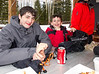 Benjamin and Joey eating waffles