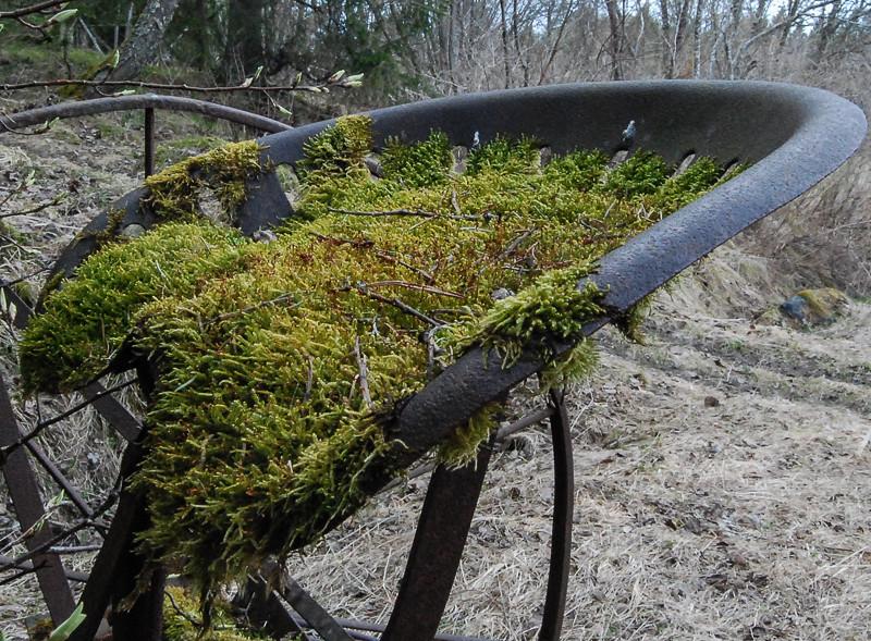 Idag växer mossan på de gamla redskapen som nyttjades på gården.