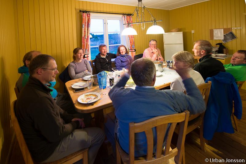 Välförtjänt middag innan det var dags att titta på bilderna.