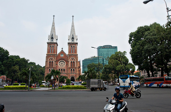 We saw this on one of those nifty paper cards before we saw it in real life, and John actually tried to ask the lady what building it was (because it seemed kind of odd.) Turns out, there is a huge cathedral of some sort in Ho Chi Minh. Not was I was expecting, walking along in Asia. But not much of Ho Chi Minh would of been what I'd of expected.