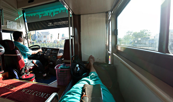 A fantastic seat on a sleeper bus!