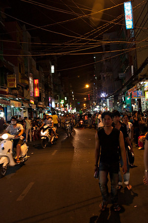 We arrived in Saigon again, to bid Eric goodbye and figure out what to do ourselves. The street we were staying just off of isn't short of people or traffic or shops crammed into every space. It's a very convenient place to be, and we like it here an awful lot.