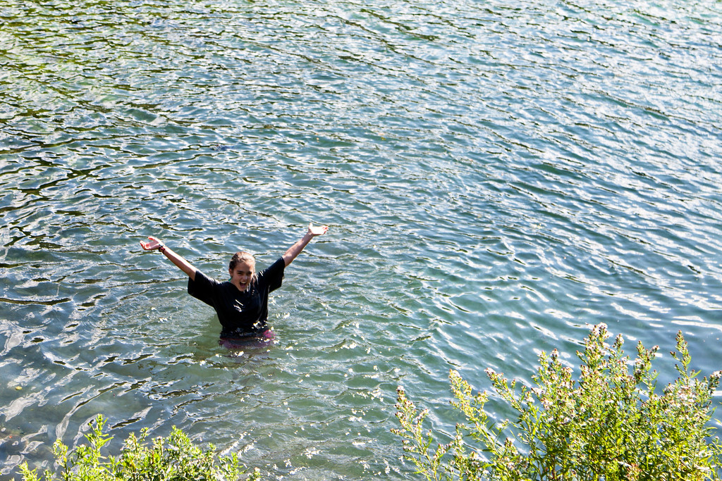 Isabella being enthusiastic about Nimrod's swimming hole!