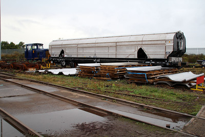 Newly completed Biomass Wagon 83700698019-2 being shunted out onto the other completed wagons.