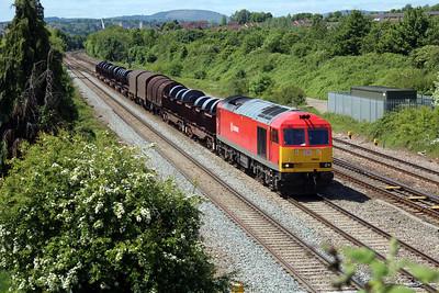 60054 1323/6B67 Margam-Llanwern arrives at Llanwern West Junction.