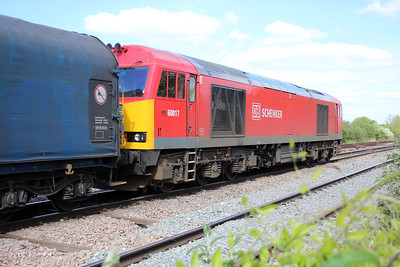 60017 1617/6e47 Margam-Tees Yard leaves Llanwern East Jct and passes Bishton Crossing.