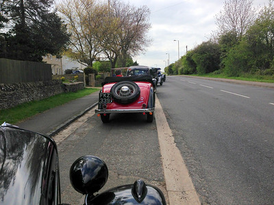 The convoy regroups outside Witney