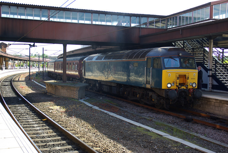 57313 stands at York to depart as the 17:38 charter train to Ayr 08/06/13