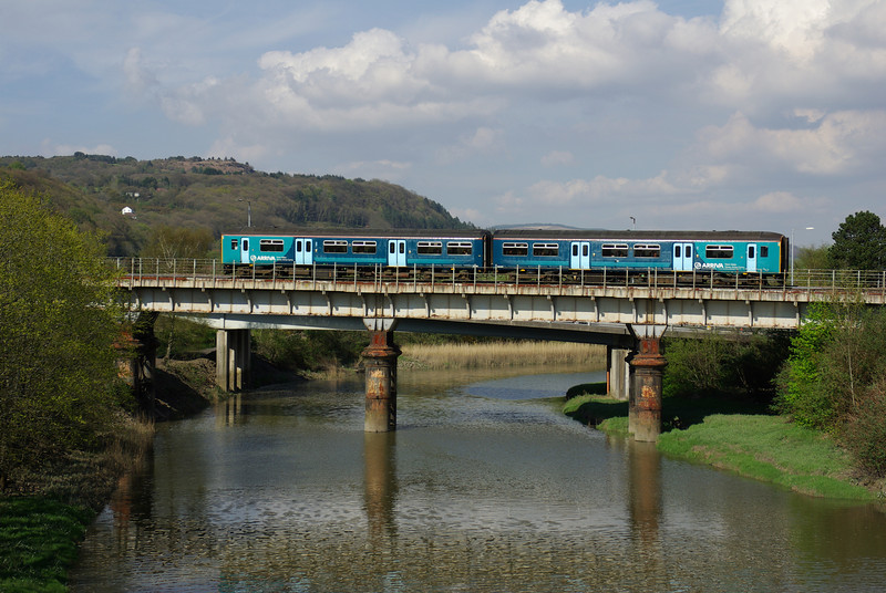 150251 crosses the River Nedd in Neath working the 14:35 Gloucester - Fishguard Harbour 06/05/12
