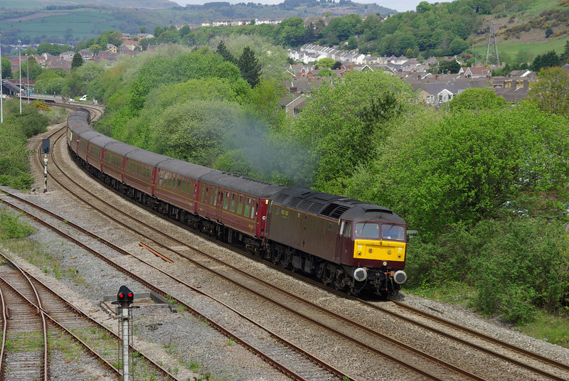 47826 + 47854 at the rear re-join the South Wales Mainline at Briton Ferry after a trip down the Heart of Wales Line and around the Swansea District Line working the 06:05 Holyhead - Cardiff Central 18/05/13