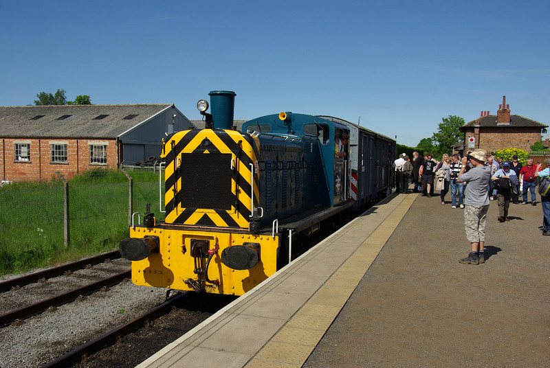 03144 and this former explosives van were giving rides from Leeming Bar to the end on the Wensleydale Railway at Northallerton 08/06/13