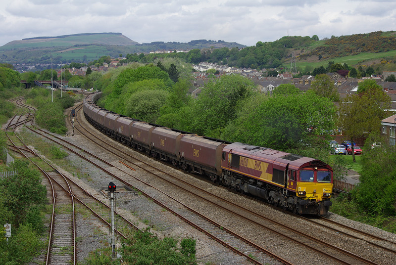 66030 at Briton Ferry working the 12:37 Cwmgwrach - Aberthaw Power Station coal train 18/05/13