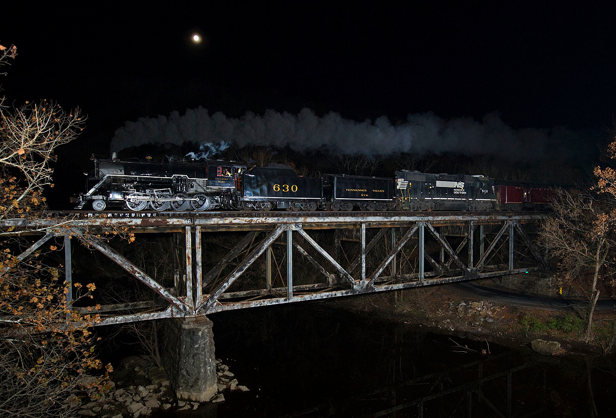Southern Railway #630 leads the return leg of a Knoxville,TN to Asheville,NC excursion train westbound across the Pigeon River at Newport,TN 11/16/13.