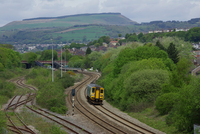 153327 passes Briton Ferry working the 09:00 Shrewsbury - Cardiff Central via the Heart of Wales line 18/05/13
