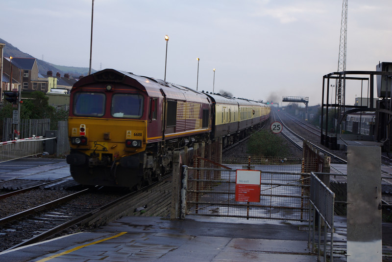 66181 on the rear of UK Railtours 15:05 Gwaun Cae Gurwen - London Paddington departs Port Talbot 09/03/13
