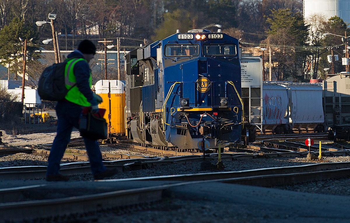 Norfolk & Western Ry Heritage motor NS 8103 at the NS North Winston Yard in Winston-Salem,NC.
