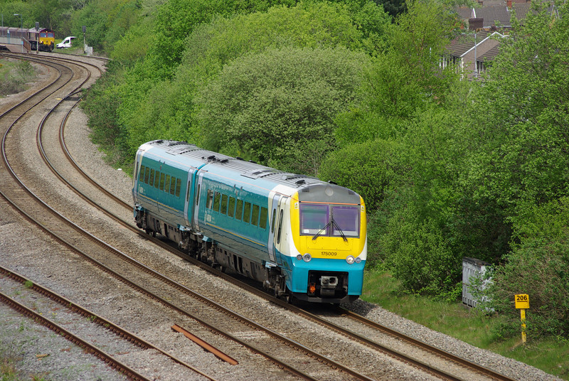 175009 passes Briton Ferry working the 13:02 Carmarthen - Manchester Pic 18/05/13