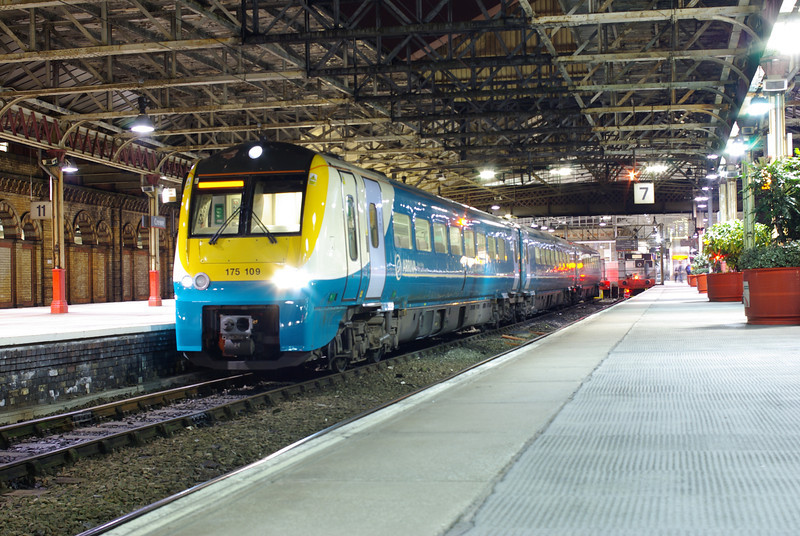 175109 at Crewe working the 20:30 Manchester Pic - Cardiff Central starting at Crewe becauseof an earlier fright train failure 22/02/13