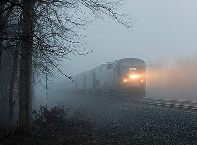 Amtrak train 80 the northbound Carolinian Linwood,NC 1/12/13.