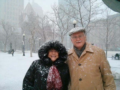 Enjoying some fresh snow fall in Copley Square, Boston, MA.