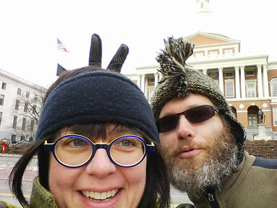 A quick stop in front of the Massachusetts State House while enjoying a cold walk along the Freedom Trail in Boston, MA.