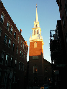 Sunset on the Old North Church (where Paul Revere hung two lanterns), in Boston, MA.