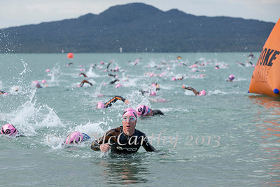 Women complete swim leg. Race 1 of Stroke and Stride 2013/2014 series, Mission Bay, Auckland, New Zealand. Thursday 14 November 2013.